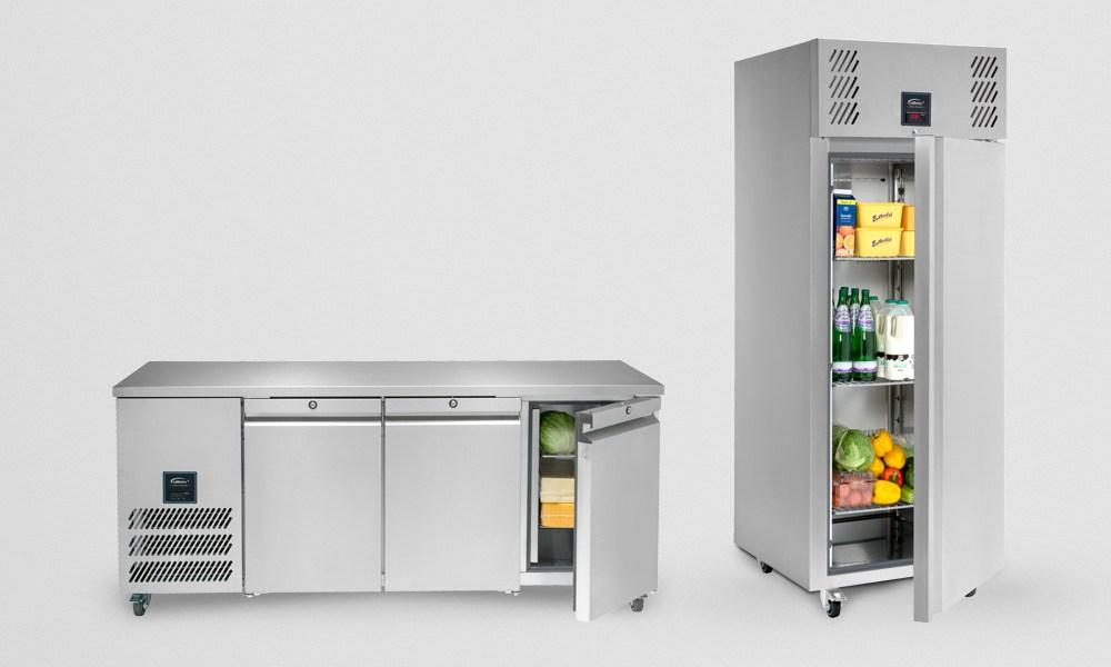 Jade Three Door Refrigerated Counter and One Door Upright Refrigerated Cabinet
