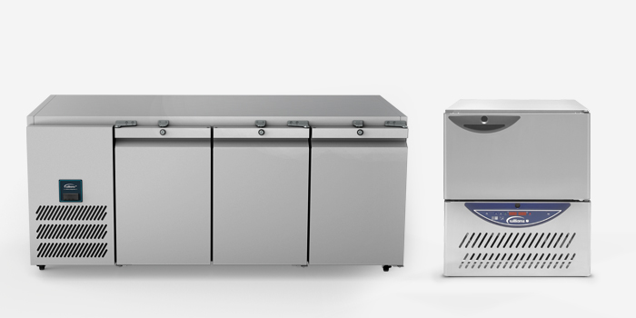 Low level refrigerated counters and under counter blast chillers