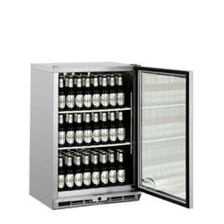 1 door Bottle Cooler Door Open & Stocked