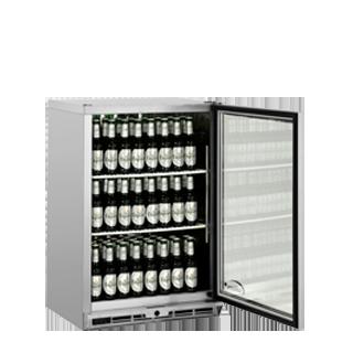 1 door Bottle Cooler Door Open & Stocked