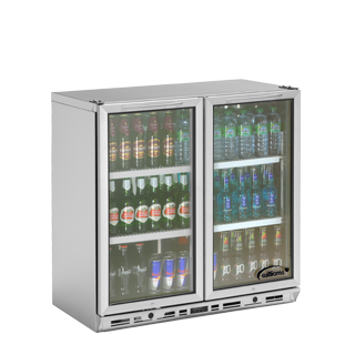 2 door Bottle Cooler Side On & Stocked