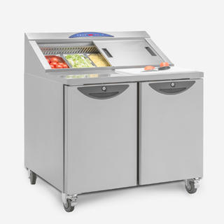 Compact Refrigerated Prep Counter with Chopping Board
