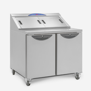 Refrigerated CPC2 Compact Prep Counter with closed overnight cover