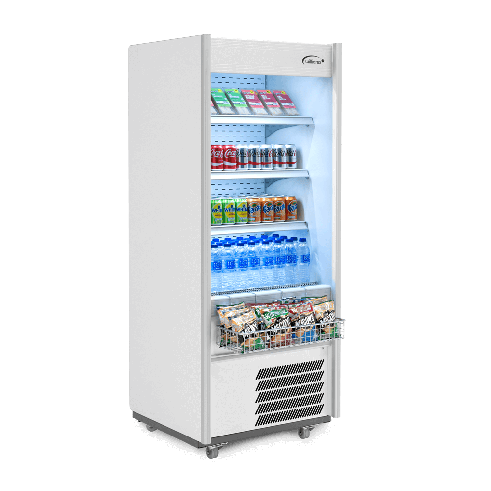 R70WCN - Refrigerated Multideck - Side on - Stocked - Snack Basket
