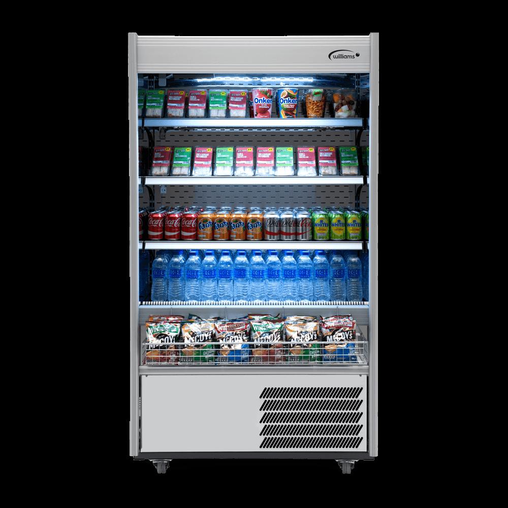 R100SCN - Refrigerated Multideck - Front On - Stocked - Snack Basket - Lit