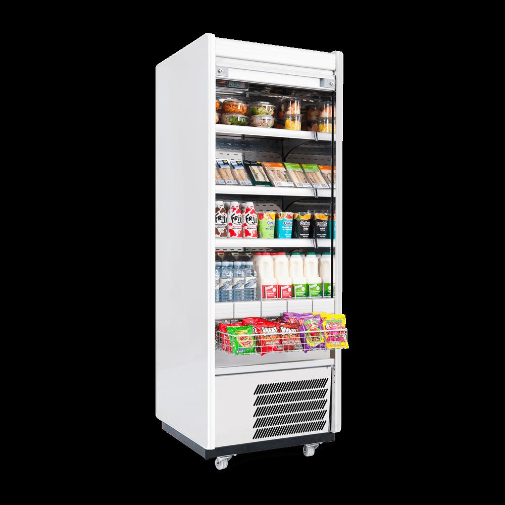 R70SCS - Refrigerated Multideck - Security Shutter - Snack Basket - Stocked - Side On