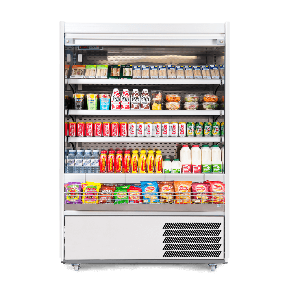 R125SCS - Refrigerated Multideck - Security Shutter - Stocked - Snack Basket - Front On