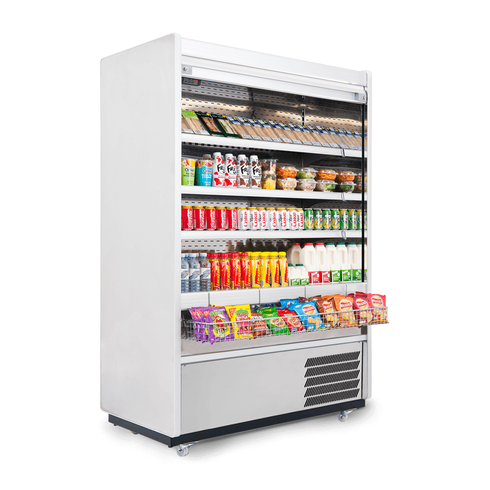 R125SCS - Refrigerated Multideck - Security Shutter - Stocked - Snack Basket - Side On