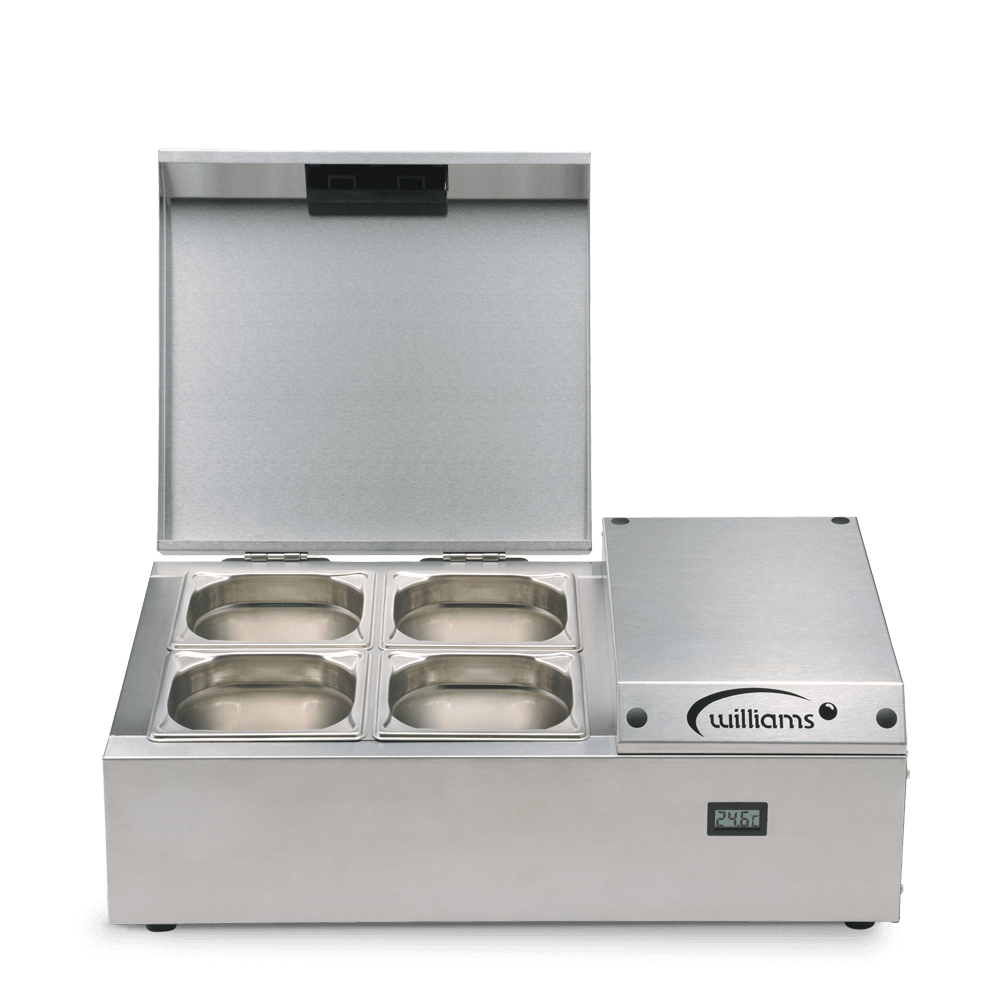 Counter Top Refrigerated Thermowell - TW4 - Front on Pans open and Empty