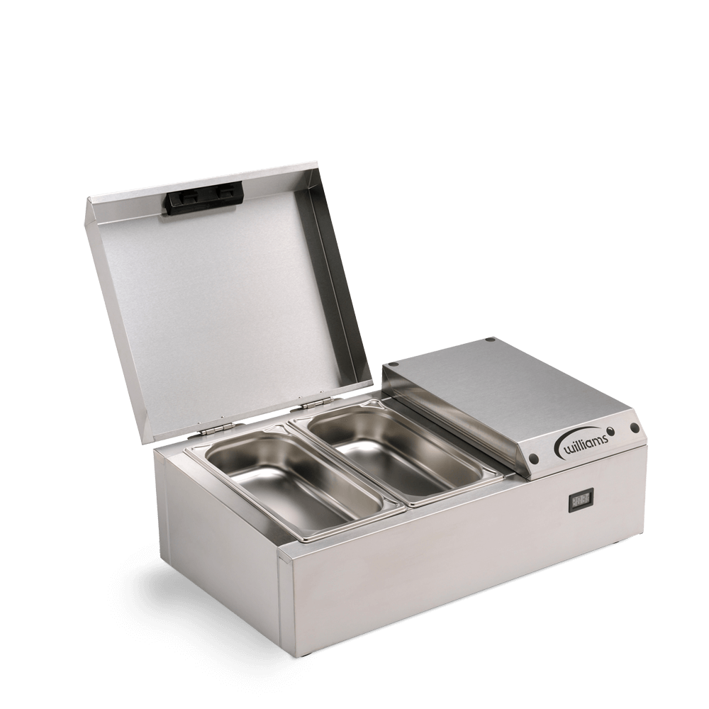 Counter Top Refrigerated Thermowell - TW4 - Side on Open with empty pans