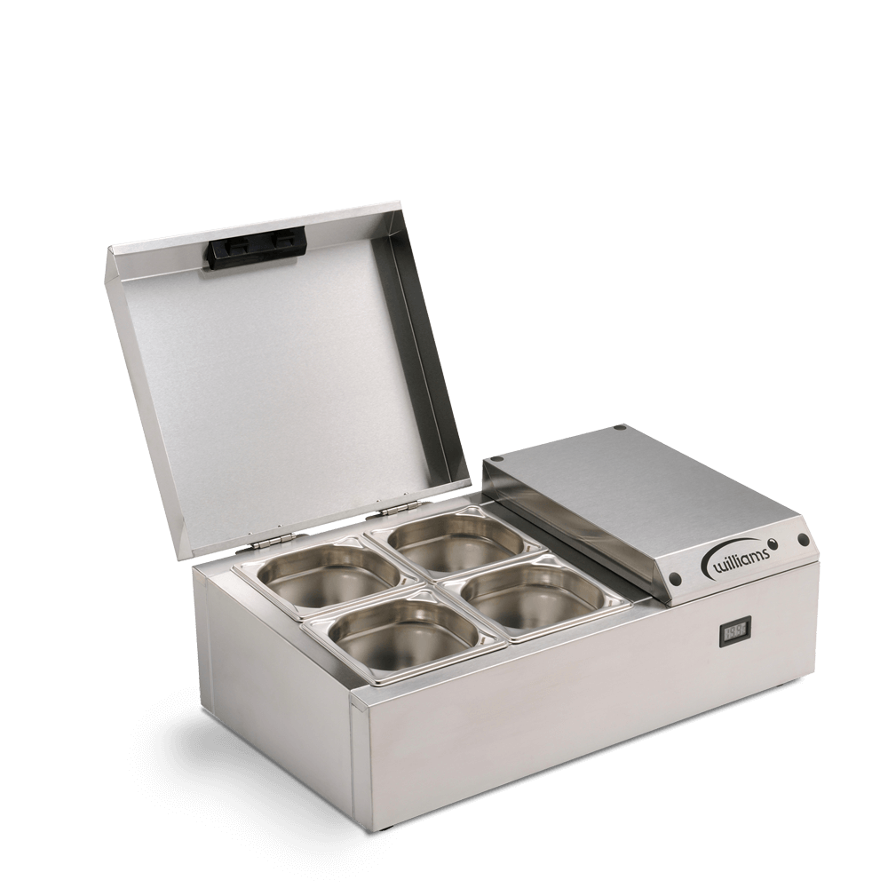 Counter Top Refrigerated Thermowell - TW4 - Side on Open with empty pans open
