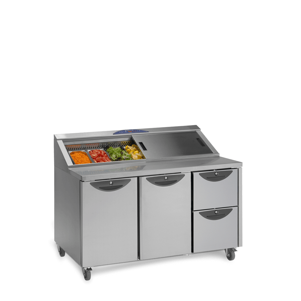 Onyx CPC3 Counter Preparation with Drawers - Stocked and Open - Lid Half Closed