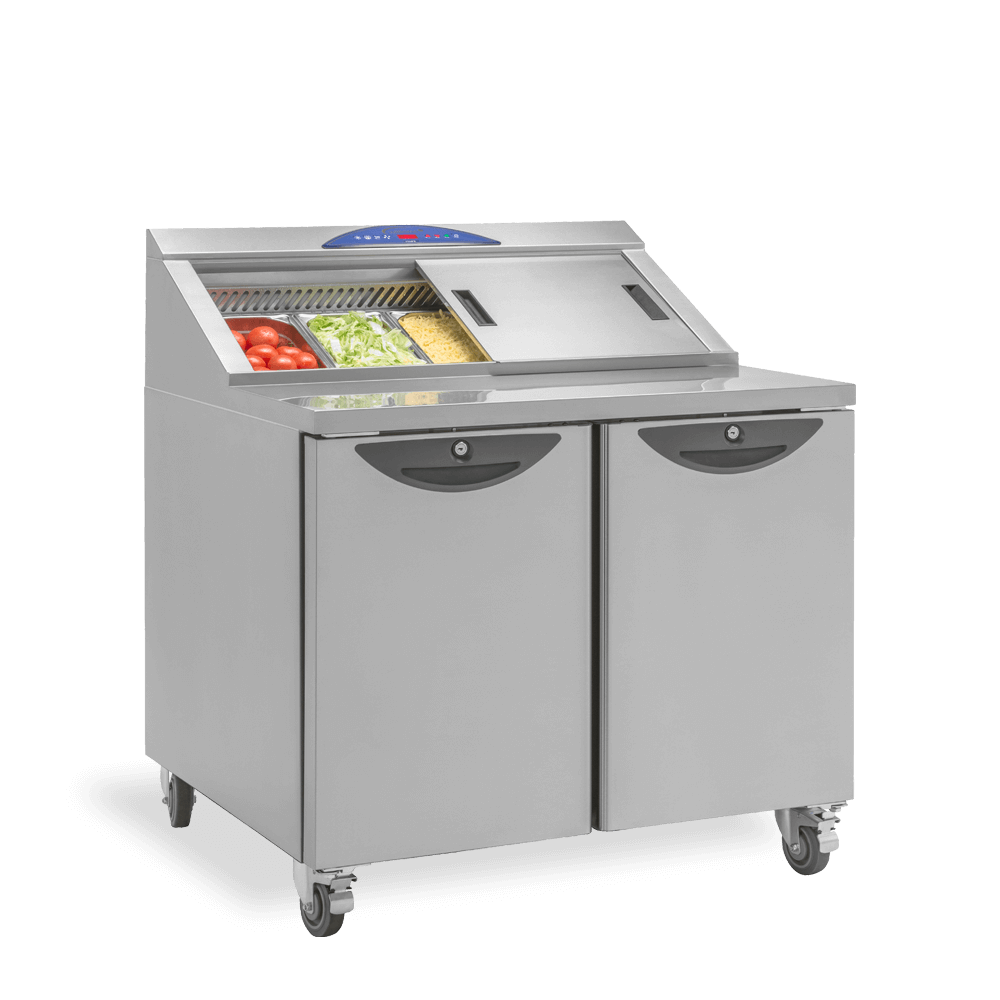 CPC 2 Refrigerated Prep Counter - Three Quarters Stocked
