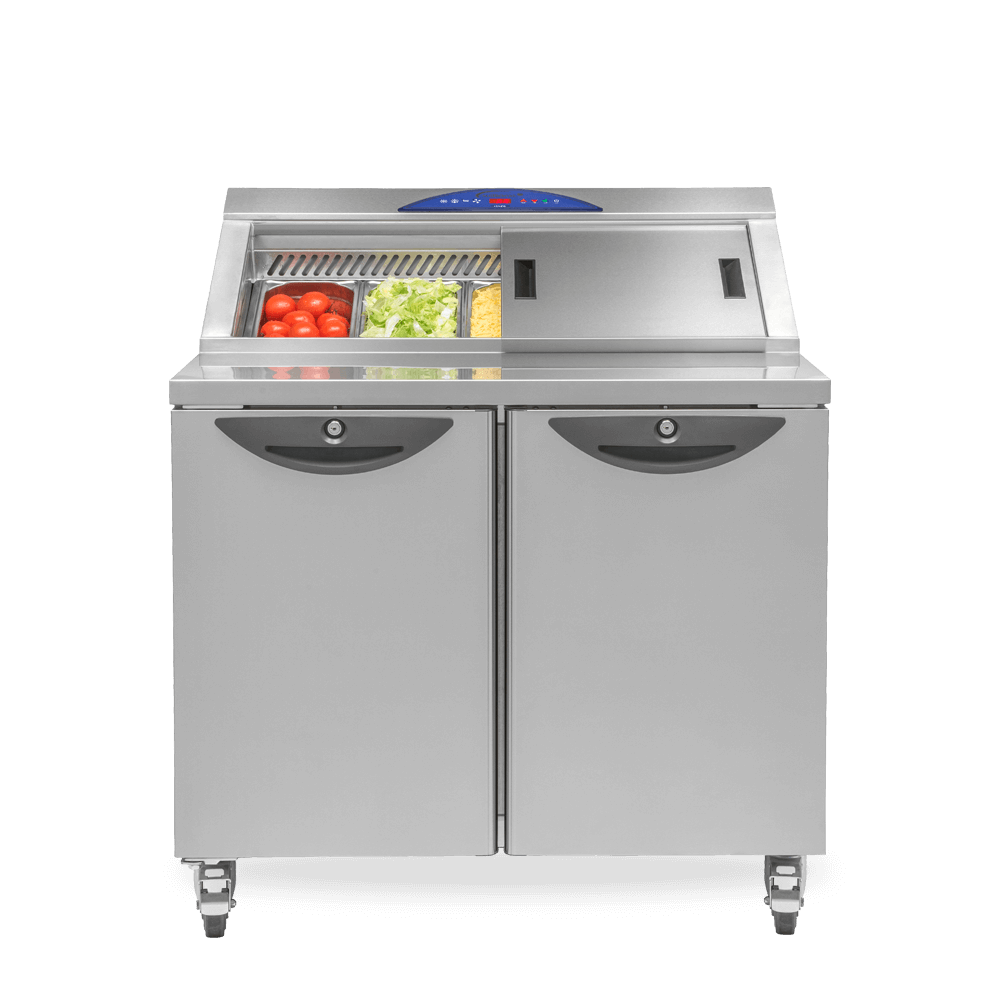 Refrigerated CPC2 Slimline Preparation Counter stocked with Salad