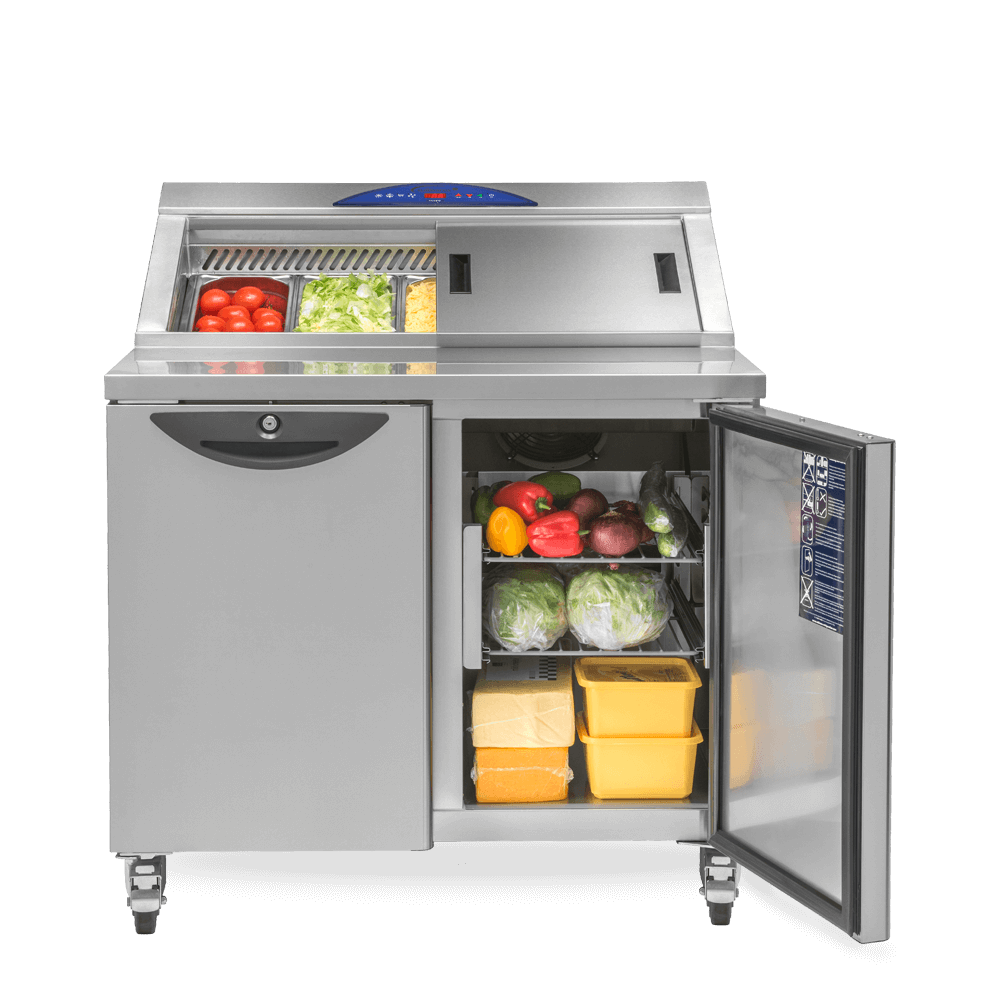 Onyx CPC2 Compact Refrigerated Prep Counter stocked with salad and open undercounter storage