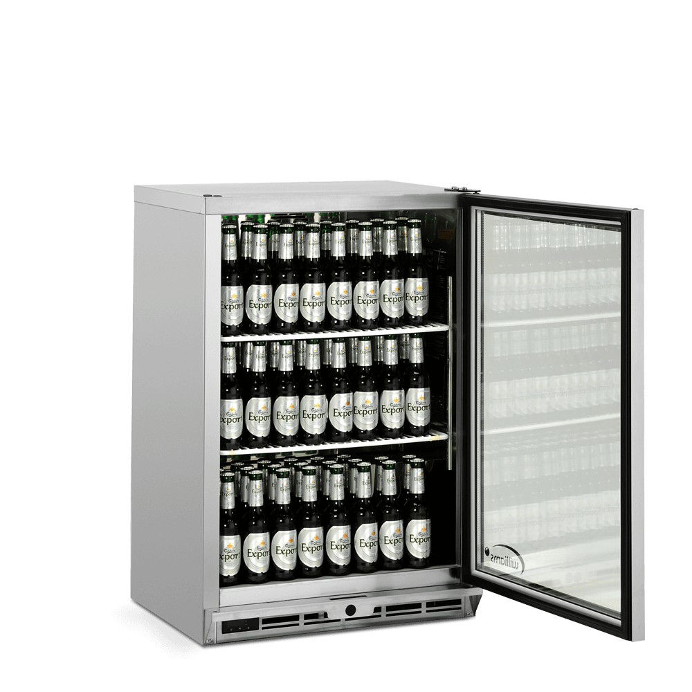 One Door Bottle Cooler - Side On - Stocked - Door Open