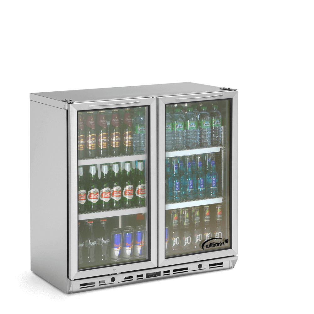 Two Door Bottle Cooler - Stocked - Side On - Closed
