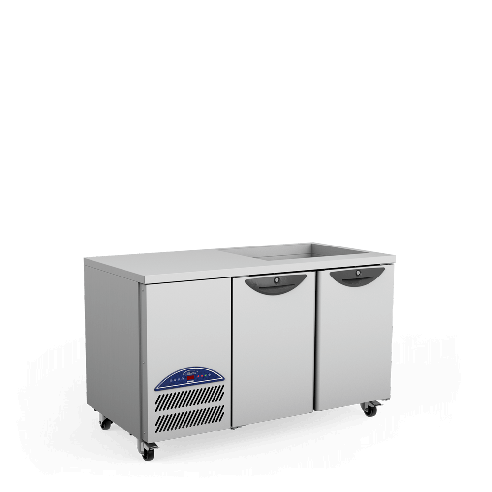 Opal Two Door Refrigerated Counter - Side On - Cut Out Well