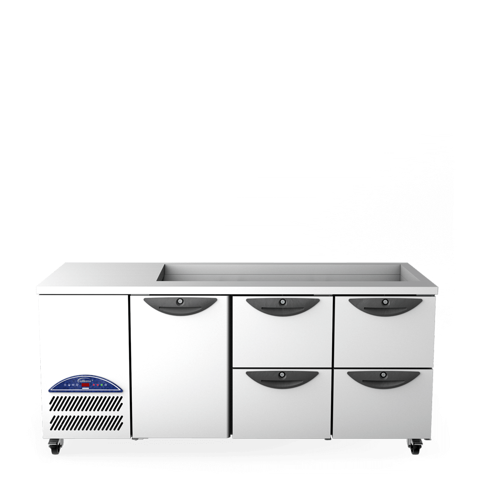 Opal Three Door Gastronorm Refrigerated Counter - 2 banks of 2 drawers with cut out - Front On