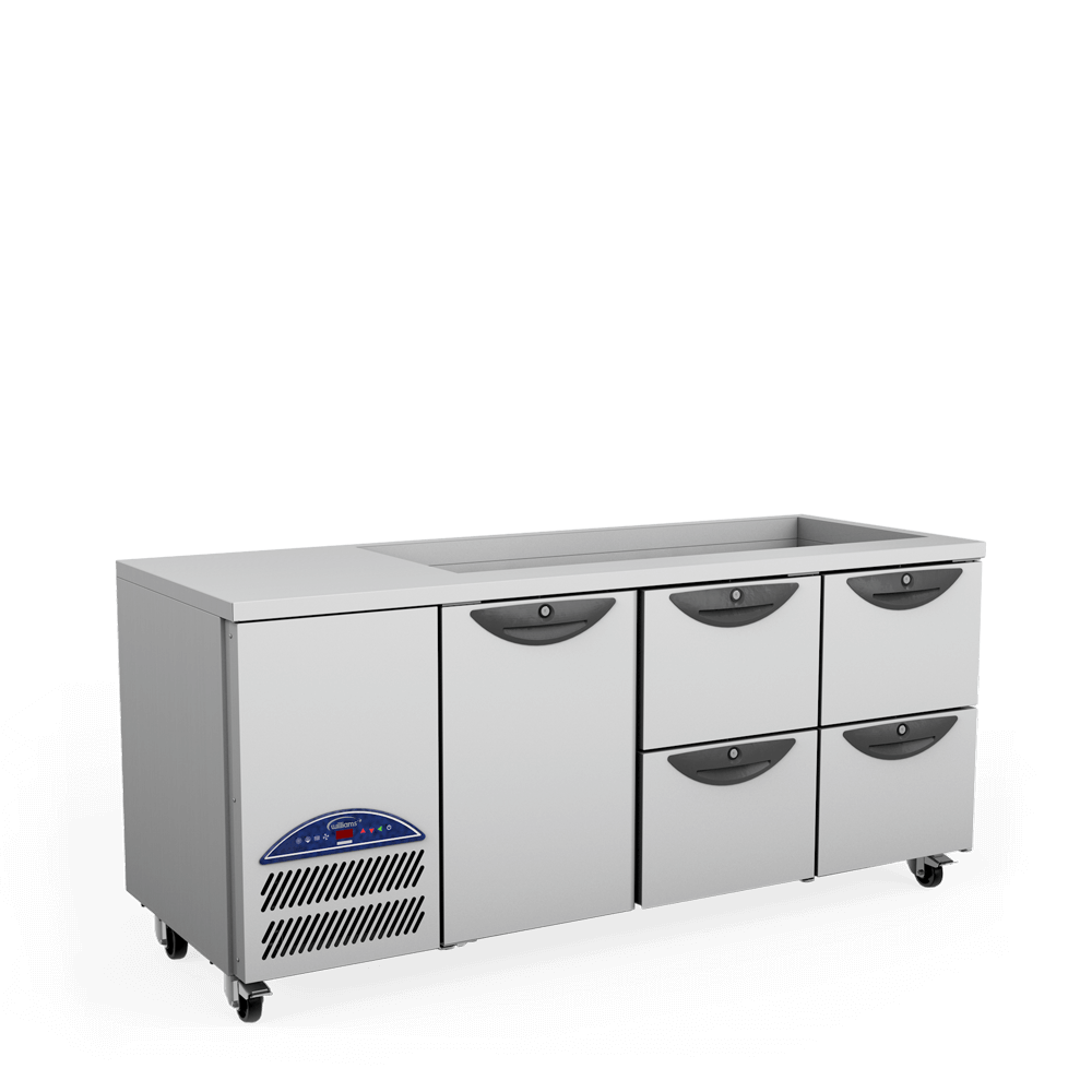 Opal Three Door Gastronorm Refrigerated Counter - 2 banks of 2 drawers with cut out - Side On