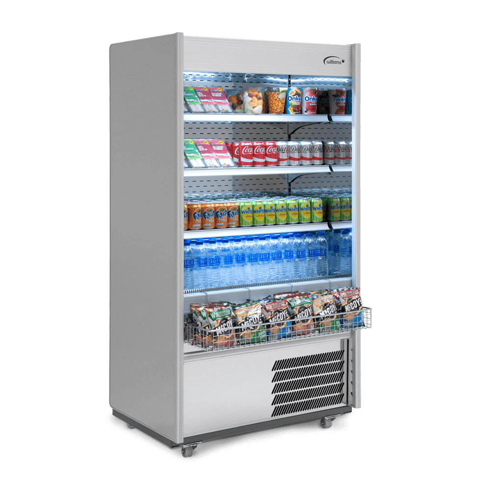 R100SCN - Refrigerated Multideck - Side On - Stocked - Snack Basket.