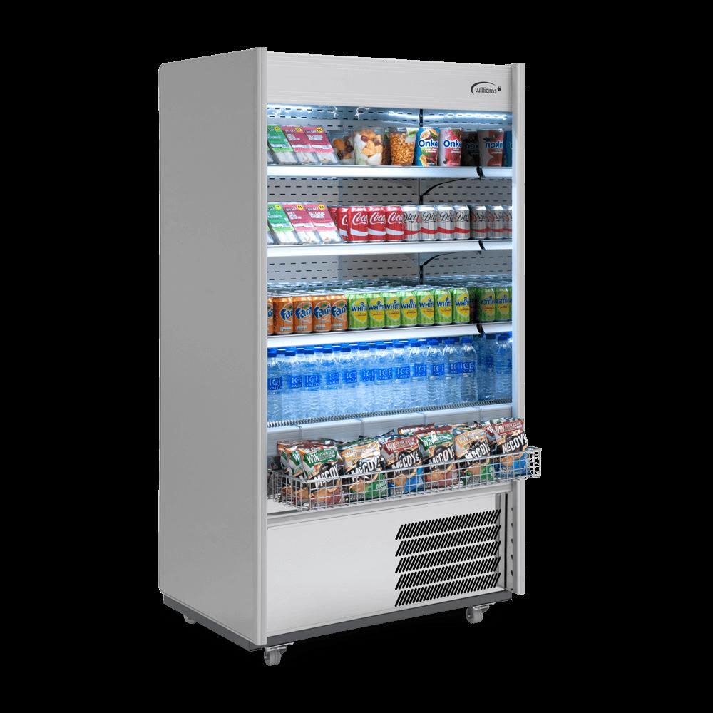 R100SCN - Refrigerated Multideck - Side On - Stocked - Snack Basket.