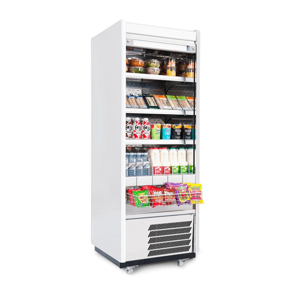 R70SCS - Refrigerated Multideck - Security Shutter - Snack Basket - Stocked - Side On.