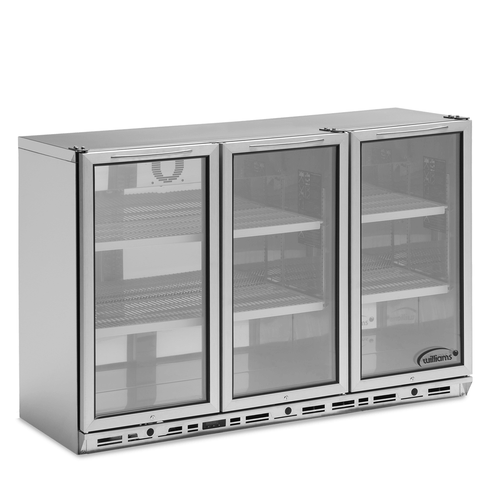 Three Door Bottle Cooler with Glass Doors.