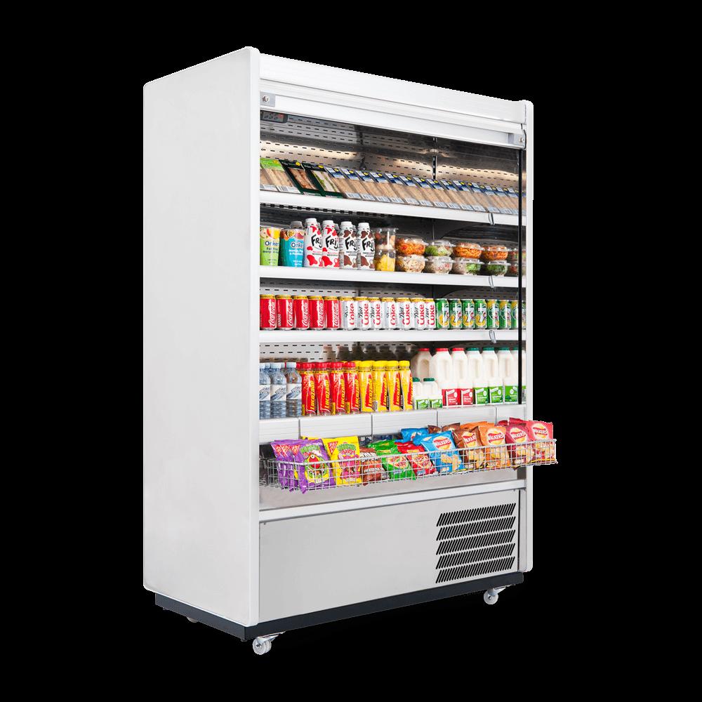 R125SCS - Refrigerated Multideck - Security Shutter - Snack Basket - Side On.