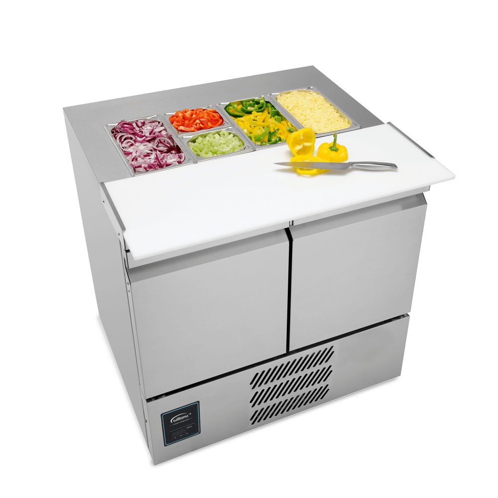 SU10CT - Two Door Salad Preparation Counter - Stocked - Side On.