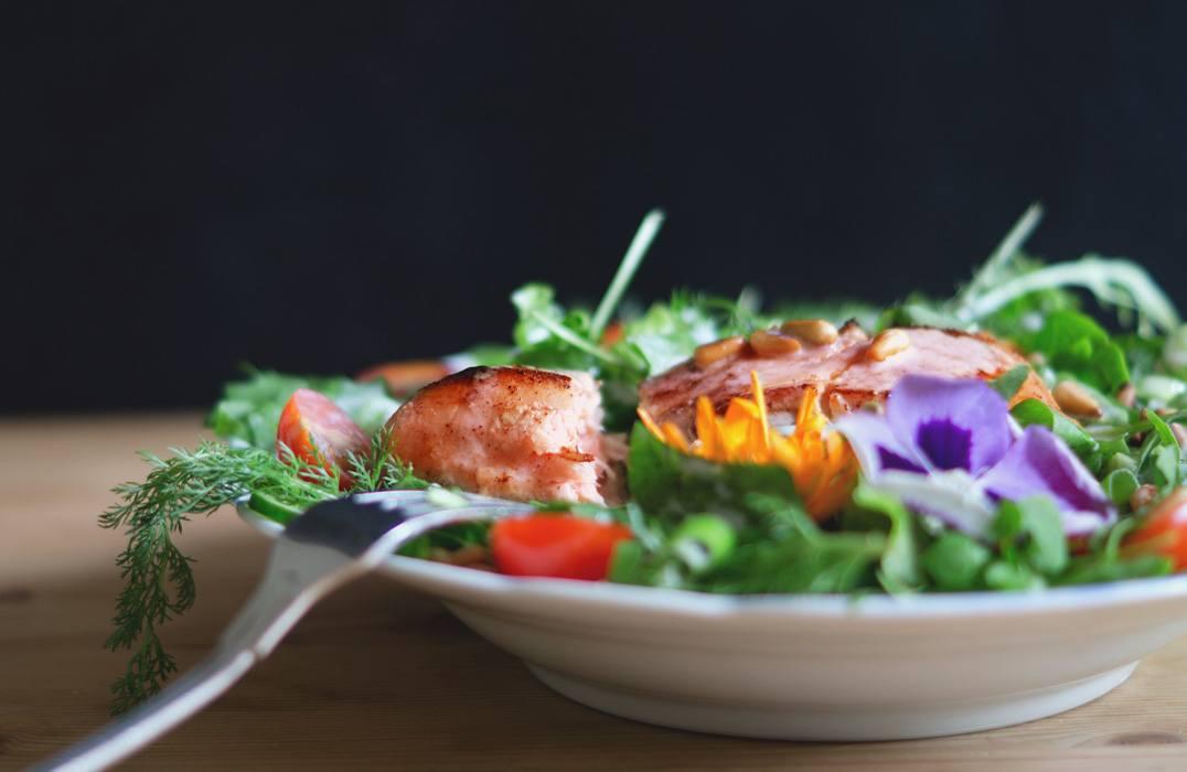 Plated fish salad.