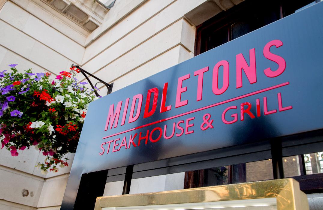 Middletons Steak House - Exterior Sign.